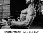 handsome power athletic man on... | Shutterstock . vector #613111169