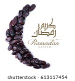 ramadan kareem. dates fruit... | Shutterstock . vector #613117454