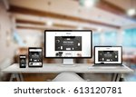 web design studio promotion on... | Shutterstock . vector #613120781