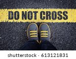 do not cross line child in... | Shutterstock . vector #613121831