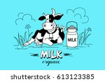 the cow in the meadow. vector... | Shutterstock .eps vector #613123385