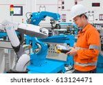 maintenance engineer programing ... | Shutterstock . vector #613124471