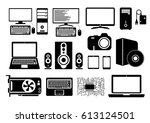 electronic device icons for web ... | Shutterstock .eps vector #613124501