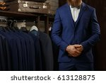 a young stylish man with a... | Shutterstock . vector #613128875