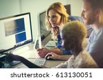 programmers cooperating at  it... | Shutterstock . vector #613130051