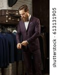 handsome young bearded... | Shutterstock . vector #613131905