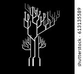 vector mainboard tree line icon ... | Shutterstock .eps vector #613135589
