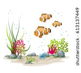 illustration of an underwater... | Shutterstock .eps vector #613137449