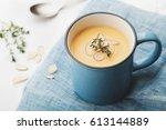 dietary vegetable cream soup... | Shutterstock . vector #613144889