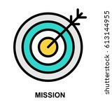 mission color line vector icon | Shutterstock .eps vector #613144955