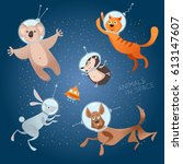 animals in space. astronauts.... | Shutterstock .eps vector #613147607