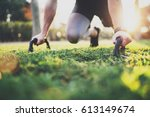 healthy lifestyle concept.male... | Shutterstock . vector #613149674