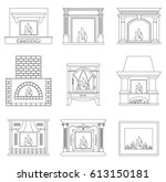 contour fireplace. icons of... | Shutterstock .eps vector #613150181