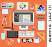 flat design style modern vector ... | Shutterstock .eps vector #613154954