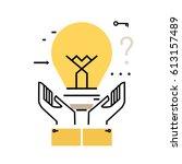 brainstorming flat line... | Shutterstock .eps vector #613157489