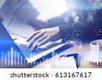 closeup view of digital screen... | Shutterstock . vector #613167617