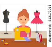 cute girl seamstress. a... | Shutterstock .eps vector #613173011