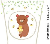 cute bear in the hollow tree... | Shutterstock .eps vector #613178174
