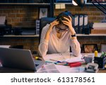 asian women are stressed out of ... | Shutterstock . vector #613178561