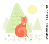 cute fox in the woods on white... | Shutterstock .eps vector #613179785