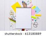 school stationery or office...   Shutterstock . vector #613180889