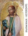 Small photo of POREC, CROATIA - DECEMBER 12: Antonio Vivarini: Saint James the Greater, Altarpiece in Euphrasian Basilica in Porec, Croatia on December 12, 2011