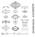 set of vintage frames and... | Shutterstock .eps vector #613183379