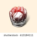baseball glove with ball   hand ... | Shutterstock .eps vector #613184111