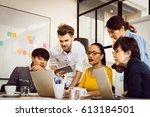 multiethnic group of happy...   Shutterstock . vector #613184501