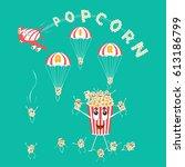 air popcorn. cartoon happy cute ... | Shutterstock .eps vector #613186799