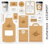 coffee house corporate identity ... | Shutterstock .eps vector #613189097