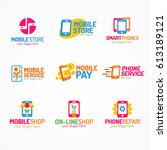 phone logo set color style use... | Shutterstock .eps vector #613189121