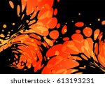 splashing burning drops  orange ... | Shutterstock .eps vector #613193231