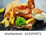 british traditional fish and... | Shutterstock . vector #613194371