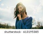 beautiful portrait of young... | Shutterstock . vector #613195385