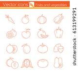 orange fruits and vegetables ... | Shutterstock .eps vector #613199291