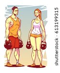 man and woman with kettle bells ... | Shutterstock .eps vector #613199315