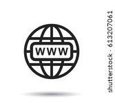 go to web icon. internet flat... | Shutterstock .eps vector #613207061
