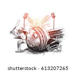 cricket player with ball helmet ... | Shutterstock .eps vector #613207265