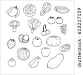 hand drawn vector fruit nature... | Shutterstock .eps vector #613217159