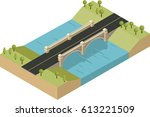 isometric bridge  river and the ... | Shutterstock .eps vector #613221509