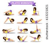 set of pilates workouts design... | Shutterstock .eps vector #613221821