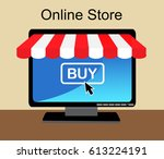 monitor the store awning and... | Shutterstock . vector #613224191