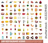 100 restaurant icons set in... | Shutterstock . vector #613229405