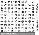 100 garage icons set in simple... | Shutterstock . vector #613230404