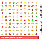 100 fresh food icons set in... | Shutterstock . vector #613230437