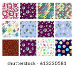 set of colorful flat patterns... | Shutterstock .eps vector #613230581