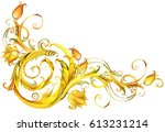 golden lace border. vintage... | Shutterstock . vector #613231214