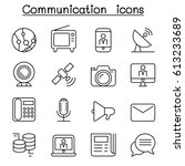 communication icon set in thin... | Shutterstock .eps vector #613233689