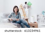 happy woman relaxing and... | Shutterstock . vector #613234961